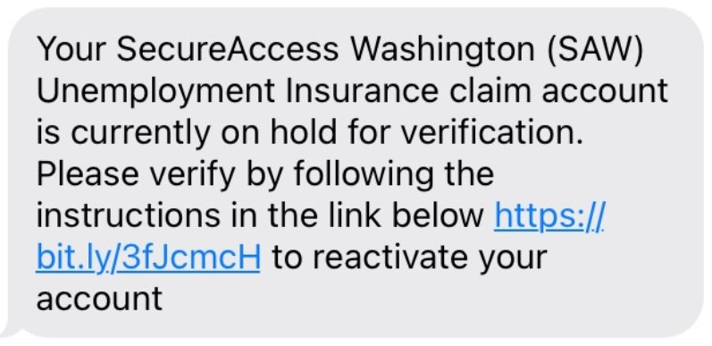 Screenshot of a fraudulent text that is not from ESD