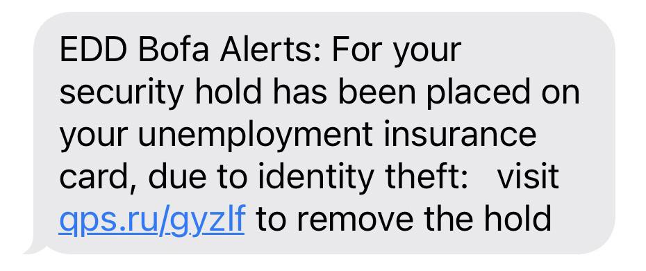 Screenshot of text scam